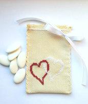 Sacchettino bomboniera per confetti punto croce, doppio cuore, infinity, shabby chic, matrimonio, san Valentino, fidanzamento, regalo