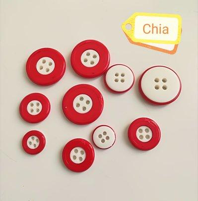 12 bottoni bianchi e rossi