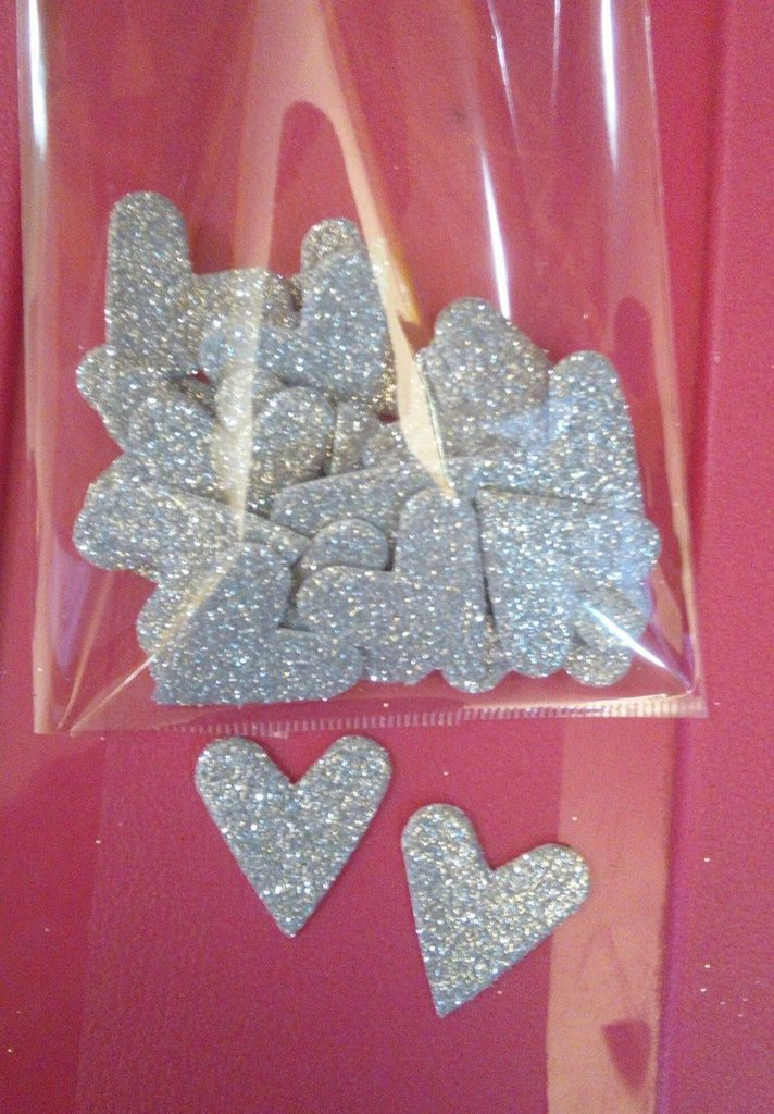 20 cuoricini gomma crepla argento