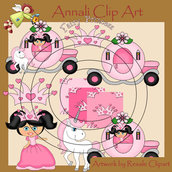 Principessa con Unicorno - Clip Art per Scrapbooking, Decoupage e Banner - Immagini