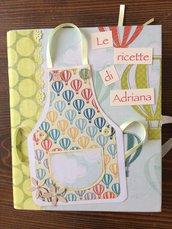 Ricettario quaderno ricette formato A5 ad anelli decorato con carte fantasia modello con taschina e tag