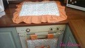Copri forno e fornelli, set cucina con copriforno e coprifornelli in bianco e arancione