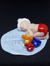 Soprammobile natalizio/fermacarte/bomboniera BUONE FESTE/BUON NATALE