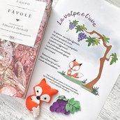 Favola la volpe e l' uva illustrazione grafica stampata in formato a4