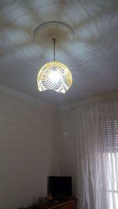 Lampadario uncinetto, lampadario fatto a mano, lampadario fai da te, regalo nuova casa e