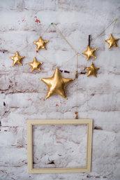 Ghirlanda di stelle metalliche, bandiera d'oro, ghirlanda di nozze, zigzagni d'oro, piccole stelle d'oro, matrimonio d'oro, compleanno d'oro