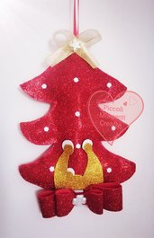 Alberello fuoriporta natalizio con natività stilizzata realizzato a mano