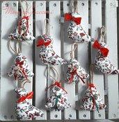 Uccellini e alberi di stoffa:decorazioni natalizie
