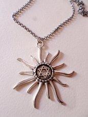 collana sole pendente in argento tibetano
