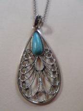 collana pendente forma di goccia in argento con pietra turchese