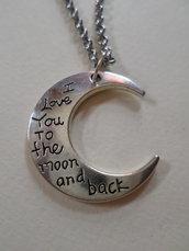 collana pendente falce di luna crescente in acciaio