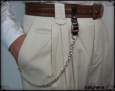 Portachiavi da cintura regolabile, vero cuoio - testa di moro, + catena cm.52