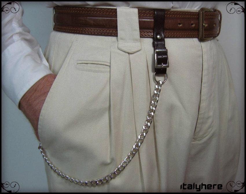 429b00fadd Portachiavi da cintura regolabile, vero cuoio - testa di moro, + catena cm.