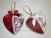 Cuore in seta di San Leucio decorazione natalizia cm.13