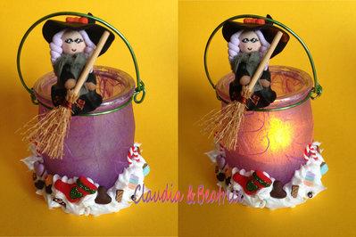 Lanternine natalizie con befana e dolciumi fatti a mano in fimo. Idea regalo per le feste.