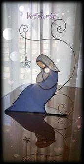 Dolcissima Madonna col bambino realizzata in vetro