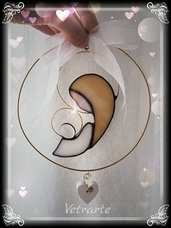 Madonna Col bambino stilizzata realizzata in vetro