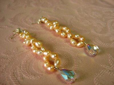 orecchini di perle  rosa