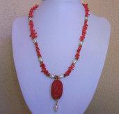 Collana con corallo, perle coltivate e ciondolo in lacca rossa, 50 cm