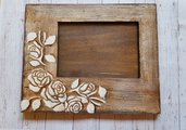 Cornice in legno, cornice shabby chic, cornice con rose, regalo per la mamma