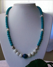 Collana con Turchese, Giada withe e Azurite Chrysocolla, 57 cm