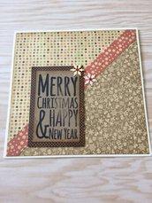 Biglietto Natale quadrato color avorio decorato a mano