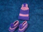 Serie completi berretto e babbucce bimbi in misto lana
