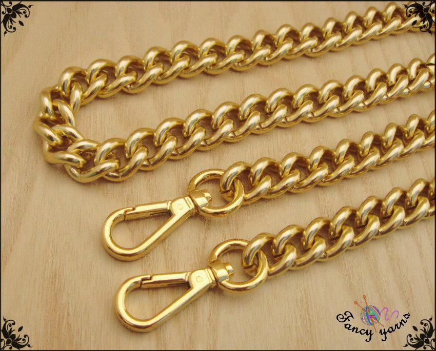 Inserzione personalizzata per dandan - Catena per borsa, lunga 140 cm. x mm.15, maglia gourmette, colore oro, moschettoni extra lusso