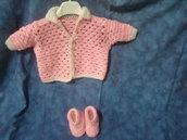 Maglietta rosa traforata per bimba