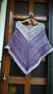 Poncho di lana viola