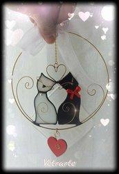 Gattini innamorati realizzati in vetro