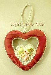 Decorazione natalizia cuore doppio in seta di San Leucio