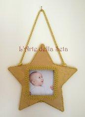Decorazione natalizia cornice stella in seta di San Leucio