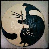 Orologio in legno gatti inciso a fuoco