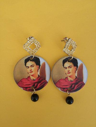 Orecchini di carta a cerchio Frida Kahlo