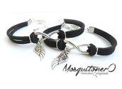 Bracciali per la coppia UOMO e DONNA con ali angelo in argento braccialetto amore angioletto
