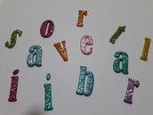 lettere fustellate glitterate in gomma crepla