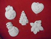 *10*Set di 5 ADDOBBI artigianali per Natale, Segnaposto, chiudipacco Albero di Natale, Pupazzo di Neve, Stella di Natale - Idea Regalo