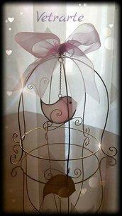 gabbietta con uccellino realizzato in vetro