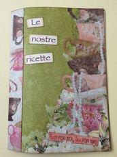 Ricettario quaderno rosa e verde cucito a mano con schede ricetta