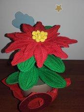 Stella di Natale all'uncinetto, vaso pianta decorativa homemade, centrotavola natalizio, idea regalo
