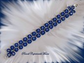 Bracciale blu al chiacchierino, cristalli zaffiro chiaro, perline argentate