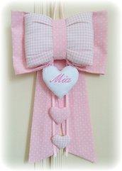 fiocco nascita rosa con cuore nome ricamato