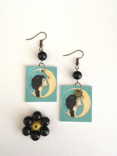 Orecchini di carta pendenti sole luna con perla nera