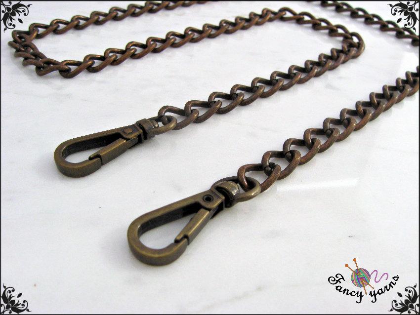 Catena per borsa, ferro color bronzo mm.9,5 - misura 140 cm.