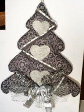 Albero di Natale imbottito di pannolenci grigio con fiocchi argentati